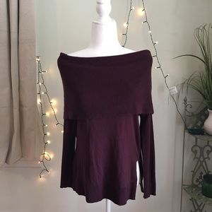 NWT Caslon Nordstrom Plum Cowl Neck 3-in-1 Top